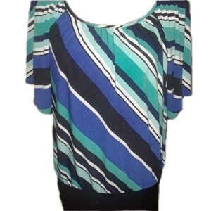 J.T.B. striped  stretchy blouse blue teal